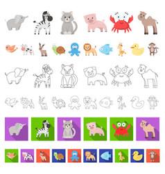 an unrealistic cartoon animal icons in set vector image