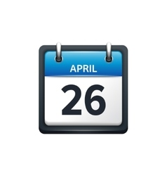 April 26 Calendar icon flat vector image