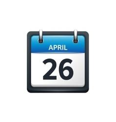 April 26 Calendar icon flat vector