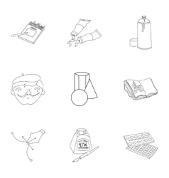 Artist and drawing set icons in outline style Big vector