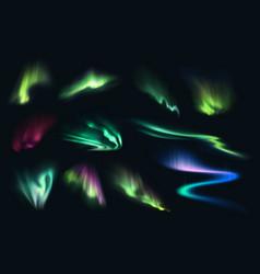 Aurora northern polar southern realistic lights vector
