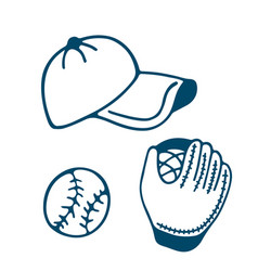 baseball glove and cap icon in doodle style vector image