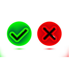black checkmark and crosshair icon in green and vector image