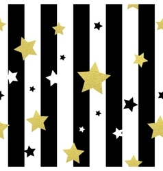Black white and gold stars seamless patterns vector image vector image