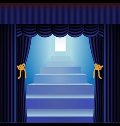 Blue curtains with staircase vector