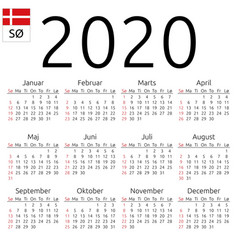 Calendar 2020 danish sunday vector
