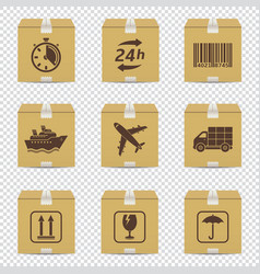 cardboard box icons with logistic signs isolated vector image
