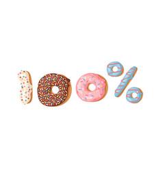 cartoon 100 percent donut vector image