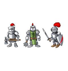 cartoon colored three medieval knights prepering vector image