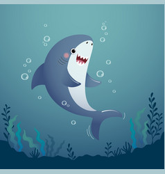 Cartoon shark in deep blue water vector