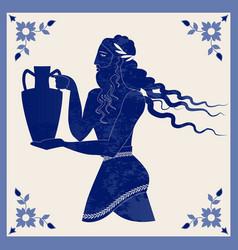 Ceramic tile ancient greece man carrying vector