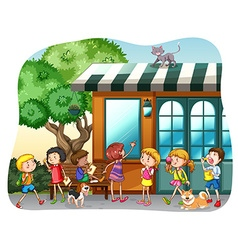 Children and shop vector image