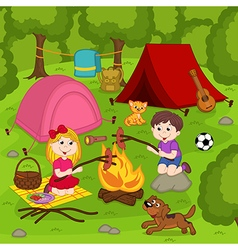 Children fry sausages on bonfire in summer camp vector