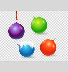 christmas baubles clipart objects isolated on vector image