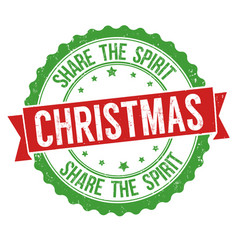 christmas share the spirit sign or stamp vector image