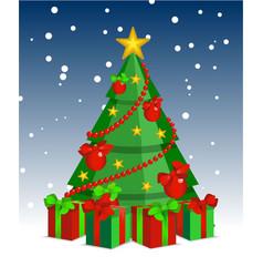 christmas tree cartoon night vector image