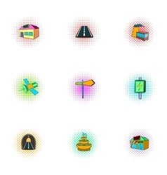 City public buildings icons set pop-art style vector image