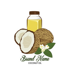 Coconut oil logo design vector