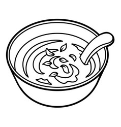 Coloring book bowl of soup vector