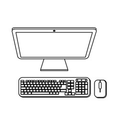 computer with keyboard and mouse black and white vector image