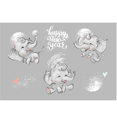 cute and funny elephant set for winter chrismas vector image