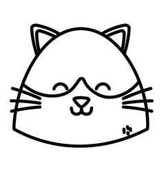 cute cat head cartoon on white background thick vector image