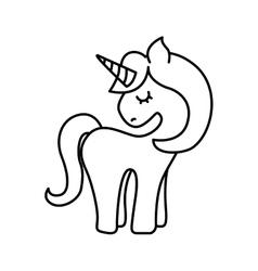 Cute fantasy unicorn icon vector