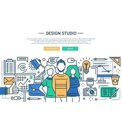 Design Studio - line design website banner vector