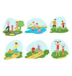 Family workout exercise active people mom vector