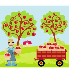 farmer in the orchard vector image