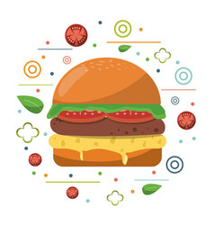 fast food hamburger cheese tomato lettuce poster vector image