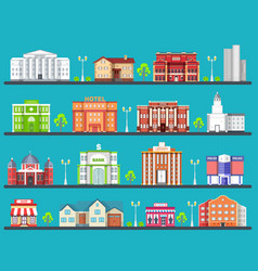 Flat colorful city buildings set icon background vector