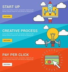 Flat Design Concept Set of for Web Banners Startup vector
