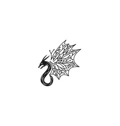 Flying dragon minimalist logo designs inspiration vector