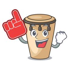 foam finger conga mascot cartoon style vector image