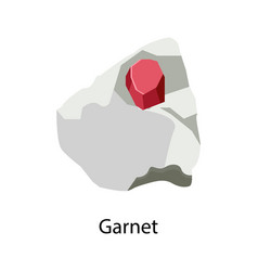 Garnet silicate mineral in reddish hidden in stone vector