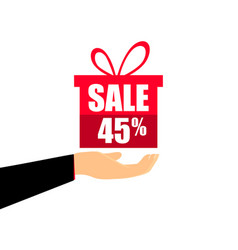 gift box on the hand with a 45 percent discount vector image