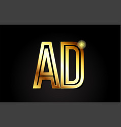 Gold alphabet letter ad a d logo combination icon vector