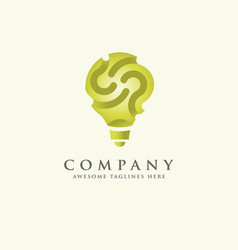 Green idea innovation symbol logo template vector