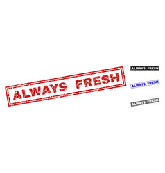 grunge always fresh scratched rectangle watermarks vector image