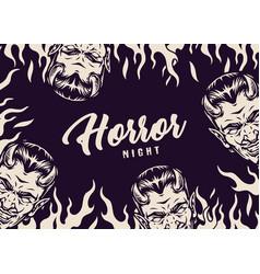 halloween night monochrome vintage concept vector image