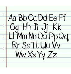 Handwriting English alphabet in upper and lower vector