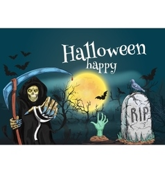 Happy Halloween with death and cemetery vector image