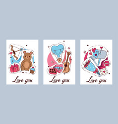 happy valentines day set of vector image