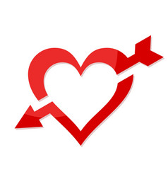 Heart symbol with an arrow vector