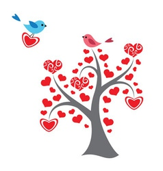 Hearts tree and birds in love vector image
