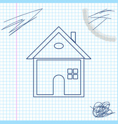 house line sketch icon isolated on white vector image
