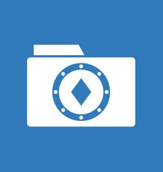 Icon casino chip on folder vector