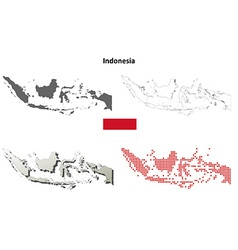 Indonesia outline map set vector
