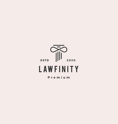 infinity law pillar logo hipster vintage retro vector image